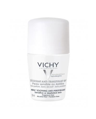 VICHY 48h Sensitive Skin Roll-On Αποσμητικό για Ευαίσθητες & Αποτριχωμένες Επιδερμίδες, 50ml