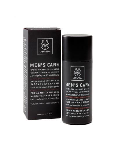 APIVITA Men's Care Κρέμα κατά των Ρυτίδων Προσώπου & Ματιών με Kάρδαμο & Πρόπολη, 50ml