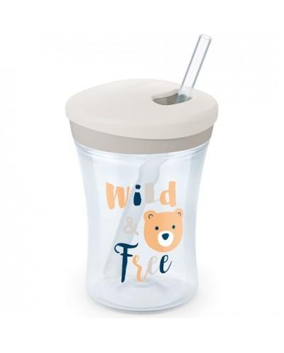NUK Action Cup Πλαστικό Ποτηράκι με Kαλαμάκι 12+ μηνών, 230ml