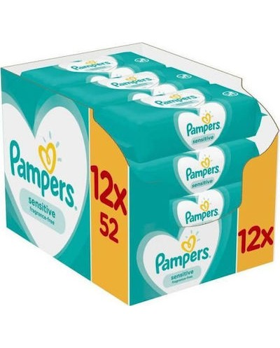 PAMPERS Sensitive Monthly Pack Μωρομάντηλα 12x52 τεμάχια