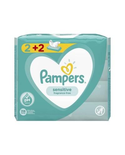 PAMPERS Sensitive Μωρομάντηλα 2+2 ΔΩΡΟ, 4x52 τεμάχια
