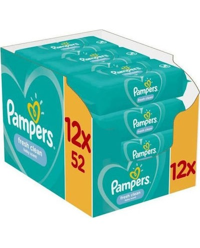 PAMPERS Fresh Clean Monthly Pack Μωρομάντηλα 12x52 τεμάχια