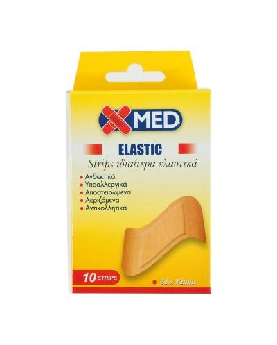 X-MED ELASTIC Strips Ελαστικά Επιθέματα Πληγών Φαρδιά 38x72mm, 10 τεμάχια
