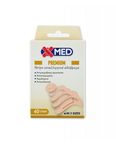 X-MED PREMIUM Strips Αδιάβροχα Επιθέματα Πληγών 5 Μεγέθη Διάφορα, 40 τεμάχια