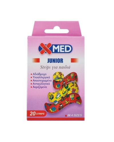 X-MED JUNIOR Strips Παιδικά Αδιάβροχα Επιθέματα Πληγών 4 Μεγέθη,20 τεμάχια