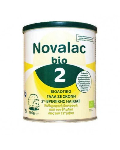 NOVALAC Bio 2 Βιολογικό Βρεφικό Γάλα 6-12 Μηνών, 400g