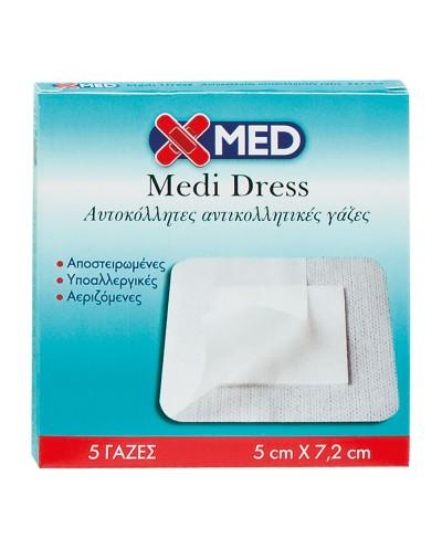 X-MED Medi Dress Αυτοκόλλητες Γάζες  5cm x 7,2cm (κουτί 5 τμχ)
