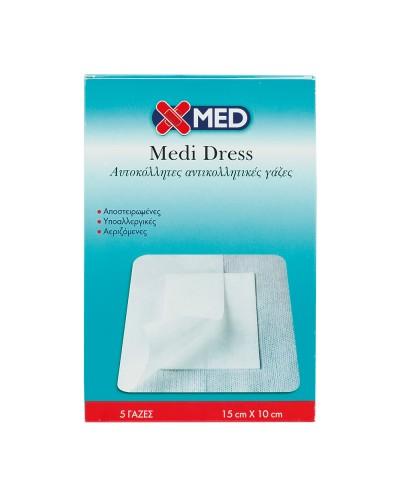 X-MED Medi Dress Αυτοκόλλητες Γάζες 10cm x 15cm (κουτί 5 τμχ)