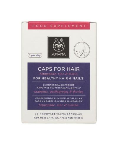 APIVITA Caps for Hair Συμπλήρωμα Διατροφής για υγιή Μαλλιά και Νύχια, 30 κάψουλες