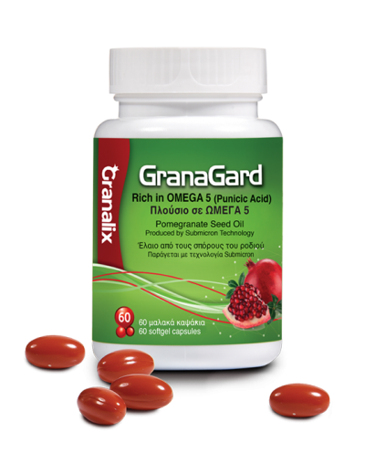 LERIVA GranaGard Punicic Acid Έλαιο Σπόρων Ροδιού Πλούσιο σε Ω5, 60 κάψουλες