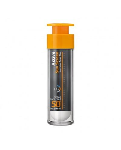 FREZYDERM Active Sun Screen Tinted Face Fluid SPF50+ Αντηλιακό Ενεργού Άνθρακα με Χρώμα, 50ml