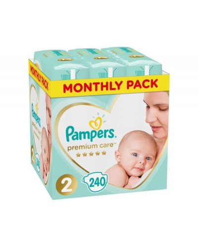 PAMPERS Premium Care Monthly Pack No.2 (4-8 kg) Βρεφικές Πάνες, 240 τεμάχια