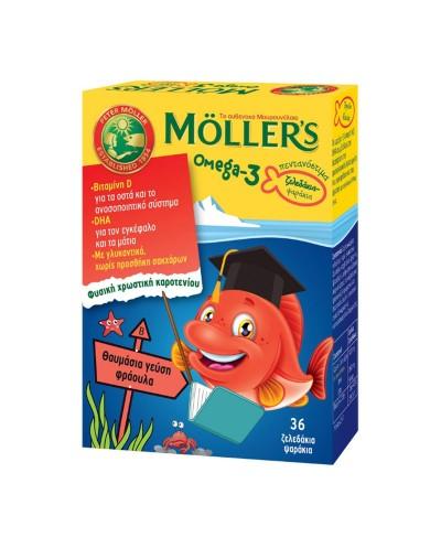 MOLLER'S Ψαράκια Ζελεδάκια Ωμέγα-3 Φράουλα, 36 fish jellies