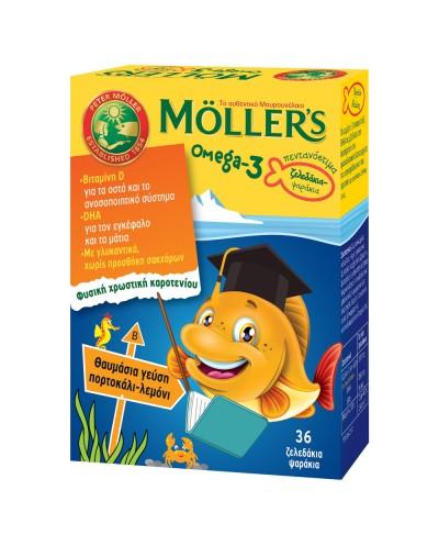 MOLLER'S Ψαράκια Ζελεδάκια Ωμέγα-3 Πορτοκάλι-Λεμόνι, 36 fish jellies
