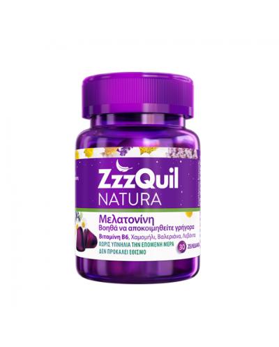 ZzzQuil NATURA Συμπλήρωμα διατροφής με Μελατονίνη, Βιτ.Β6 & Βότανα για Καλύτερο Ύπνο, 30 ζελεδάκια