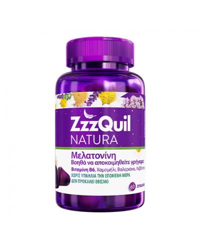 ZzzQuil NATURA Συμπλήρωμα διατροφής με Μελατονίνη, Βιτ.Β6 & Βότανα για Καλύτερο Ύπνο, 60 ζελεδάκια