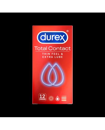 DUREX Total Contact Υπέρλεπτα Προφυλακτικά με Περισσότερο Λιπαντικό, 12 τεμάχια