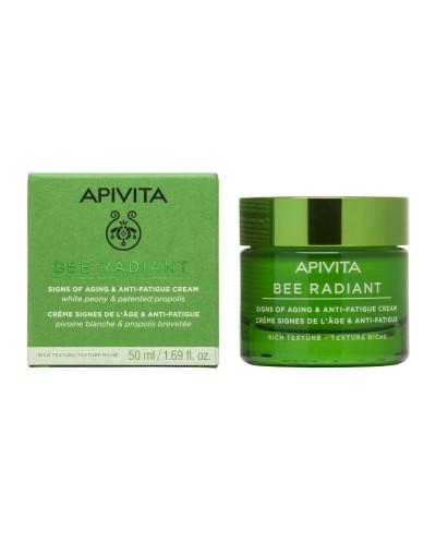 APIVITA Bee Radiant Κρέμα για Σημάδια Γήρανσης & Ξεκούραστη Όψη Πλούσιας Υφής με Λευκή Παιώνια & Πατενταρισμένη Πρόπολη, 50ml