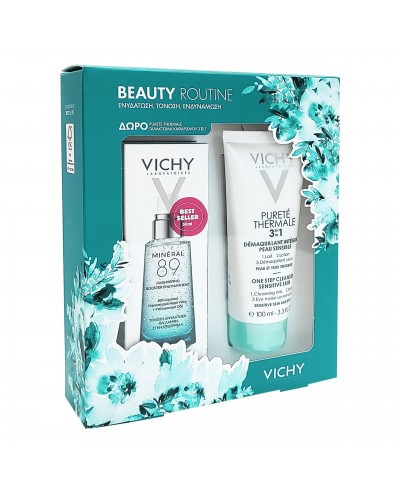 VICHY Beauty Routine Mineral 89 Ενυδατικό Booster Προσώπου, 50ml & ΔΩΡΟ Purete Thermale Cleanser, 100ml