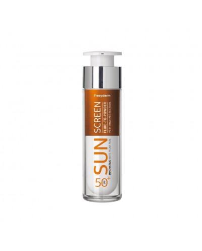 FREZYDERM Sun Screen Fluid to Powder SPF50+ Αντηλιακή Λεπτόρρευστη Κρέμα Προσώπου με Αίσθηση Πούδρας, 50ml