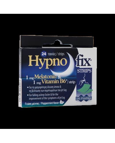 UNI-PHARMA - Hypnofix Strips Συμπλήρωμα διατροφής με Μελατονίνη & Βιταμίνη Β6 - 24 ταινίες