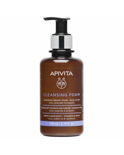 APIVITA Cleansing Foam Face & Eyes Κρεμώδης Αφρός Καθαρισμού με Ελιά & Λεβάντα, 200ml