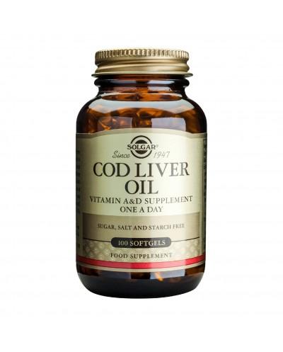 SOLGAR Cod Liver Oil Μουρουνέλαιο με Βιταμίνες Α, D & Ω3 λιπαρά οξέα, 100 κάψουλες