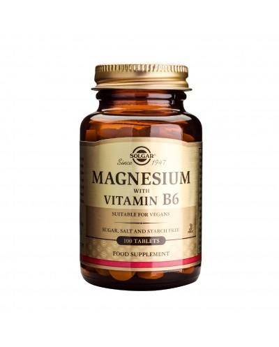 SOLGAR Magnesium with Vitamin B6 Μαγνήσιο & Βιταμίνη Β6, 100 ταμπλέτες